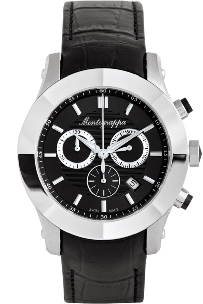 NeroUno Chronograph, Steel, Black Dial, Leather Strap