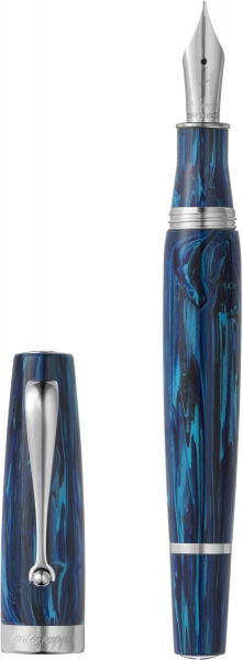 Mia Fountain Pen, Sea At Dusk Limited Edition, Silver